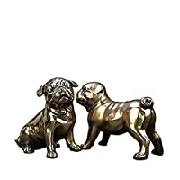TIN-YAEN オブジェ 置物 ジュエリーアートクラフト手作りの銅像ハイグレード冷たいキャスト銅樹脂彫刻2青銅の子犬製品 工芸品
