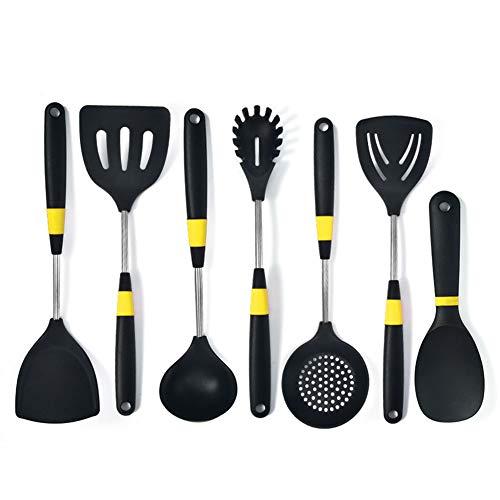 Silicone keukengerei, Non-stick kokende Spatel, Mute spatel, Oppakken Fence Poeder, Zwart Geel Cirkel