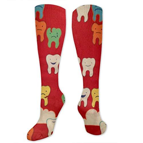 Msd8sd2w Dental Fabric Wallpaper Men's/Women's Sensitive Feet Wide Fit Crew Socks and Cotton Crew Athletic Sock