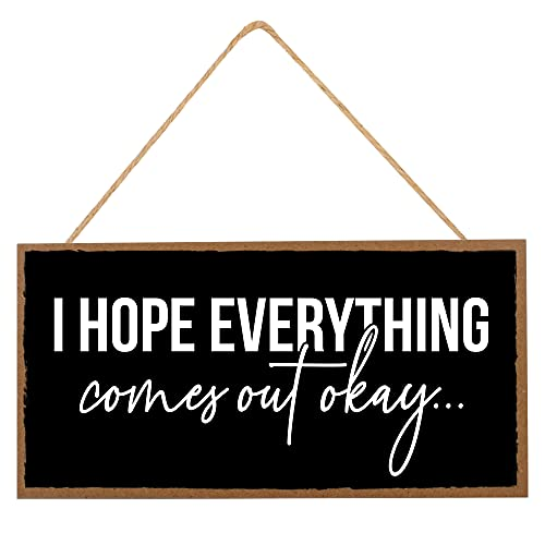 """Funny Bathroom Decor Sign - Hope Everything Comes Out Ok - Guest Bath Hanging Wall Art, Decorative Signs for Home, Kitchen - Cute Toilet Sayings For Farmhouse Half Bathroom - 10""""x5"""" Chalkboard Style"""
