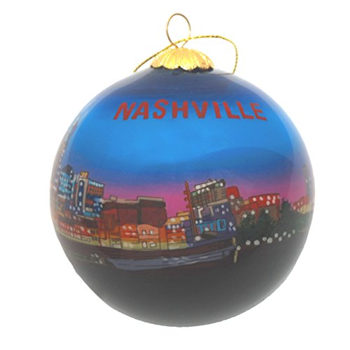 Hand Painted Glass Christmas Ornament - Nashville, Tennessee Night Skyline