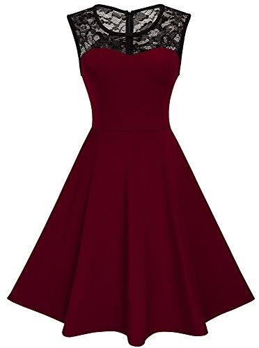 HOMEYEE Damen Elegant Spitze Rundhalsausschnitt Ärmel Mesh-A-Linie Kleid UKA008 (EU 40 (Herstellergroesse: L), Dunkelrot)