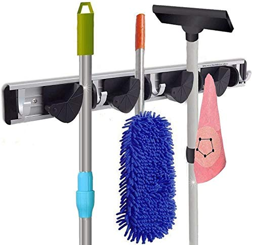 9 in 1Multi-Functional Mop Rack Senior Aluminum Clip On Broom Holder and Garden Tool Organizer Many Handy Tools