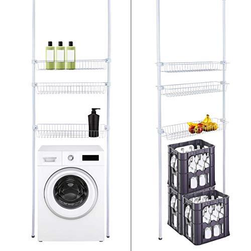 ONVAYA® Estantería telescópica para cuarto de baño, para ahorrar espacio, fijación sobre la lavadora, estantería para inodoro, estantería para suelo (blanco)