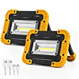 Rechargeable LED Work Light, 2 COB 1500LM Waterproof Job Light with Power Bank, Portable Floodlight for Job site Lighting, Car Repairing, Outdoor with Warning Mode (Yellow/2 Pack)
