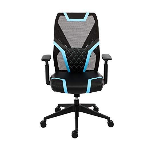 Gaming Chair Ergonomic Office Chair for Home Gaming Desk Chair Mid Back Computer Chair with Lumbar Support Executive Mesh Chair with Adjustable Armrest & Backrest Rocking Swivel Desk Chair (Blue)