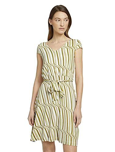 Tom Tailor 1026052 Basic Vestido, 26897-Green Watercolor Stripe, 40 para Mujer