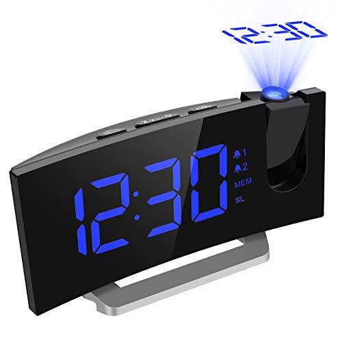 Mpow Radiowecker Digitalprojektor FM Radiowecker mit Dual-Alarm-Projektor mit 4 Sounds, 3 Töne, 5 Helligkeiten, LED-Display, USB-Port, 12/24 Stunden, Snooze, Blau