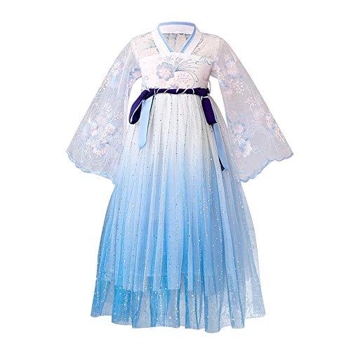 IBAKOM Abito per Bambini Ragazze Hanfu Costume Cinese Tradizionale Antica Dinastia Tang Cosplay Paillettes Pizzo Ricami Tulle Abiti Lunghi Blu 5-6 Anni