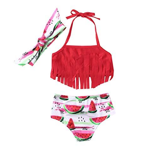BeautyTop Mädchen Bikini Bademode Outfit 3Stück Baby Sommer Strand Ärmellos Quaste Neckholder Oberteil + Wassermelone Gemustert Bikinihose + Haarband Kleinkind Schöne Schlichtes Badekleidung Swimsuit