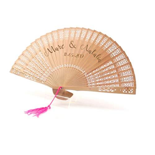 Abanico de madera personalizado. Regalo original para Detalles de Bodas, Bautizos, Comuniones y Eventos. Incluye Pompon Rosa. Madera de bambú con varilla tallada a mano. Grabado a láser.