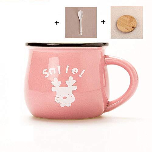 AOARR Getöpferte Tassen Cup 250Ml Keramik Bunte Frühstücksbecher Mit Deckel Löffel Retro Kaffeetasse Kreative Milchbecher Schöne Geschenke-Pink_Cover_Spoon-2_250Ml