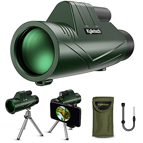 Kylietech Monocular Telescope 12X55, Monoculars for Adults with Smartphone Adapter, Tripod Starscope for Bird Watching, Hunting, Hiking Traveling