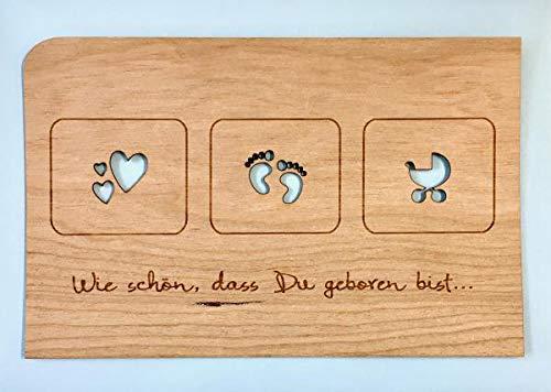 Grußkarte aus Holz - Geboren mit Umschlag