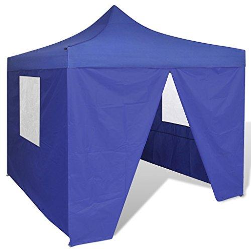 Festnight Carpa Plegable con Paredes Laterales para Jardín Camping 3x3M Cenador Pabellón Plegable Color Azul