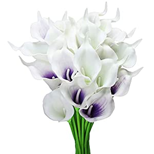 Silk Flower Arrangements Tifuly 24pcs Calla Lily Bridal Wedding Bouquet Latex Real Touch Artificial Flowers Arrangement for Home Office Party Decor (Purple and White)