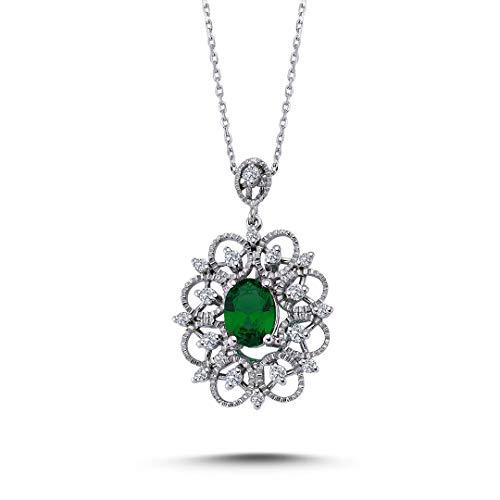 Diamant Smaragd Halskette in 585`er 14 Karat Weißgold