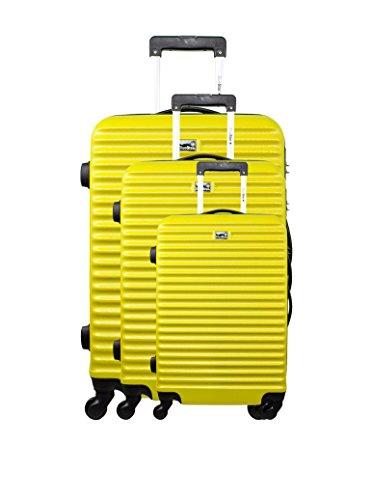BLUESTAR Set de 3 trolleys rígidos Amarillo 70 cm