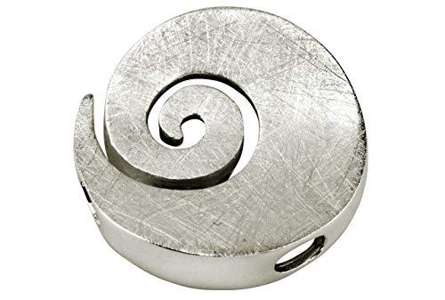 SILBERMOOS Damen Anhänger große Spirale Kreis rund offen gebürstet 925 Sterling Silber/Kette optional