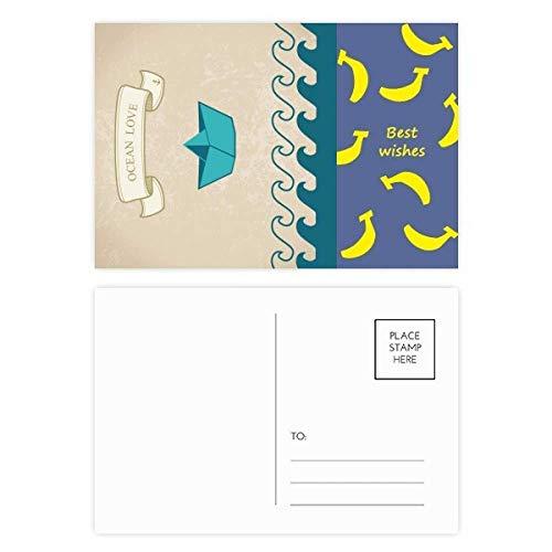 DIYthinker Papier falten Boot Ozean-Liebe Meer Segeln Banana Postkartenset dankt Karte Mailing Side 20pcs 5.7 Zoll x 3.8 Zoll Mehrfarbig