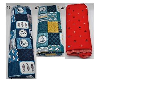 Stoffpaket maritim verschiedene Größen Baumwolle Stoffreste Webware Patchen Patchwork Baumwollstoff Restepaket Anker Boot Schiff Welle Fisch rot petrol blau