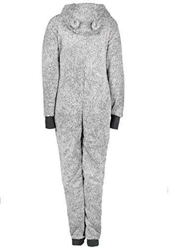 Eight2Nine Damen Jumpsuit aus kuscheligem Teddy Fleece   Overall   Ganzkörperanzug mit Ohren Dark-Grey - 2