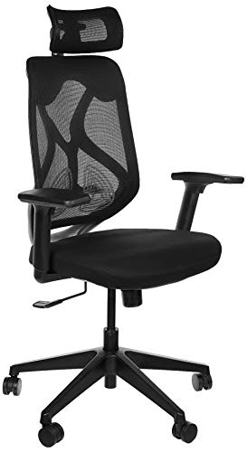 Amazon Brand - Solimo Elite High Back Mesh Office Chair (Fabric, Black)