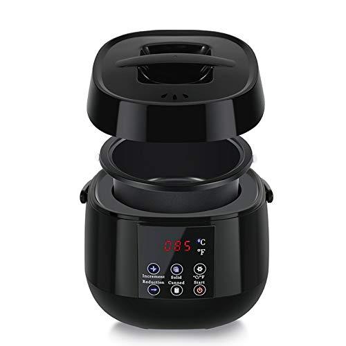 Depiladora de depilación portátil con rodillo de depilación, kit de cera digital calentador de cera cera dura calentador de frijoles sin dolor para el hogar salón negro y voltaje de EE. UU