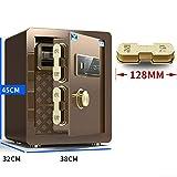 YU-CZ0 Completamente de Acero antirrobo Cajas Fuertes doméstica pequeña Huella Digital Oficina Caja 45cm / 17Kg, 60 cm / 36Kg empotrar en la Pared Caja de Seguridad Invisible,Marrón,45cm/17kg