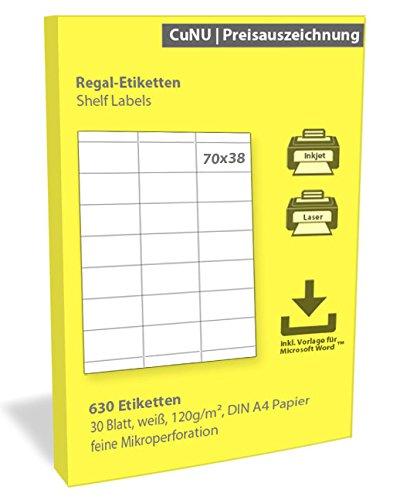 Regalschilder, Regal-Etiketten, Scanner-Etiketten, weiß, 70x38 mm 630 Stück
