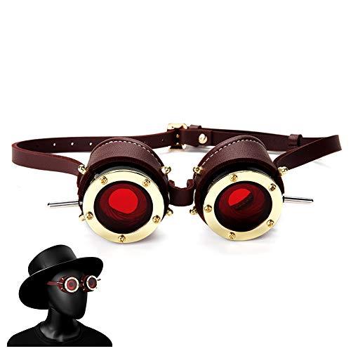 YSAGNZQ Steampunk Industriële Vintage Goggles Halloween Gothic Metal Gogggles Donker Winddichte Spiegel