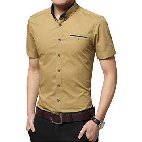 ZAJE Camisa de manga corta para hombre de verano de manga corta para hombre color caqui