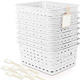 Plastic Storage Basket – Plastic Baskets, Plastic Baskets For Organizing, Baskets For Organizing, Small Plastic Bins, Storage Baskets, Plastic Bins, Containers For Organizing, 8 PC Set With Label Tags