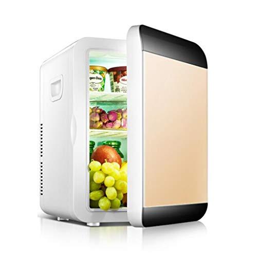 GWX Mini-koelkast, elektrische koelbox, 20 liter, dual-core, draagbare en stille vriesapparaten en koelkasten, voor slaapkamer, voor auto, reizen en camping, goud
