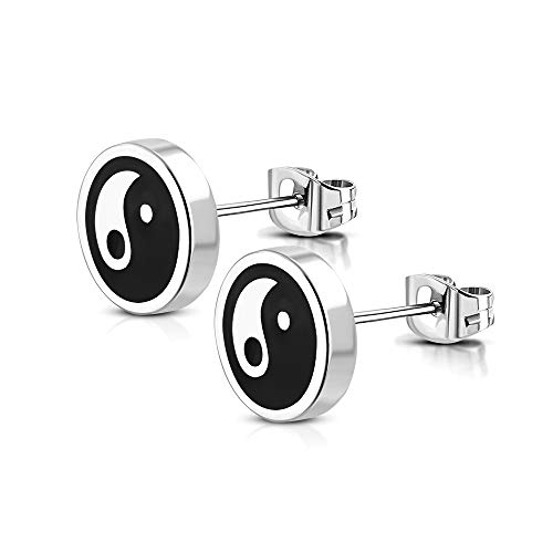 BlackAmazement Juego de 2 pendientes de acero inoxidable 316L con el símbolo del Yin Yang Taijitu de 8 mm, plata para hombre y mujer