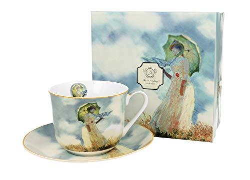 Duo Jumbotasse und Untertasse Sonnenschirm Monet 400ml Riesentasse Unterteller große Kaffeetasse Schirm Kaffee-Tasse Jumbo-Tasse Riesen-Tasse Unter-Tasse Art Porzellan Unter-Teller