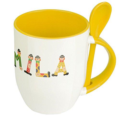 Namenstasse Mila - Löffel-Tasse mit Namens-Motiv Holzbuchstaben - Becher, Kaffeetasse, Kaffeebecher, Mug - Gelb