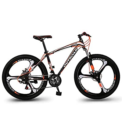Max4out Mountain Bike 21 Speed with 26 inch Wheels, Double Disc Brake, Front Suspension Anti-Slip Bikes (Red, Orange)