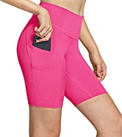 TSLA Women's High Waisted Bike Shorts, Workout Running Yoga Shorts with Pocket(Side/Hidden), Athletic Stretch Exercise...