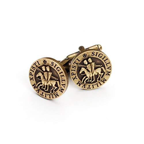 Gemelos masónicos con sello de bronce rústico de caballeros templari