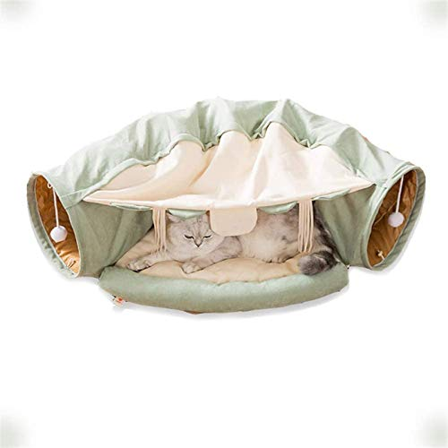 HCMNME Deluxe Soft Cat Bed, Dog Bedding Cat Tunnel Bed with Cushion Mat Cat Tunnel Toy Play Center with Collapsible Tube and Removable Thick Bed Peak Hole,for Cats and Dogs