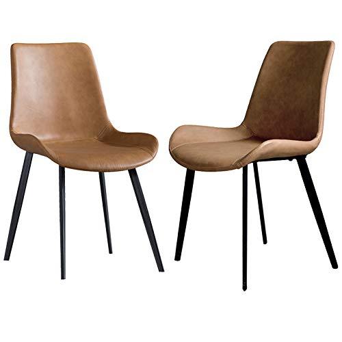 Internet Sensation Esszimmerstühle / Schreibtischstuhl, Leder, mit Metallbeinen, für Wohnzimmer, Schlafzimmer