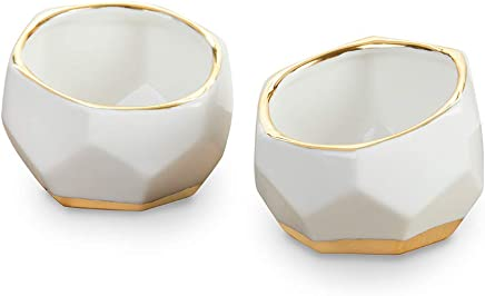 Kate Aspen 23216NA Geometric Ceramic Planters Decorative Bowls (Set of 2) Trinket Dish, Home, Room, Desk, Table Décor, One Size, White