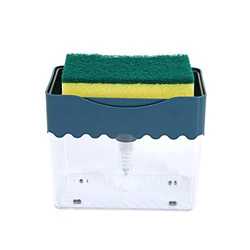 BUIDI Dispensador para bomba de jabón 2 en 1 con dispensador de esponja, dispensador de jabón líquido Hand Pr Sponge Blue Container