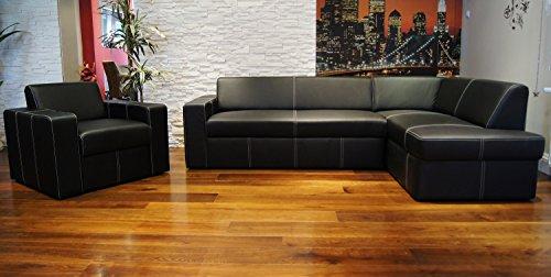 Quattro Meble echt lederen set Antalya I hoekbank 245 x 164cm + fauteuil sofa bank met slaapfunctie en bedkast echt leer hoekbank set