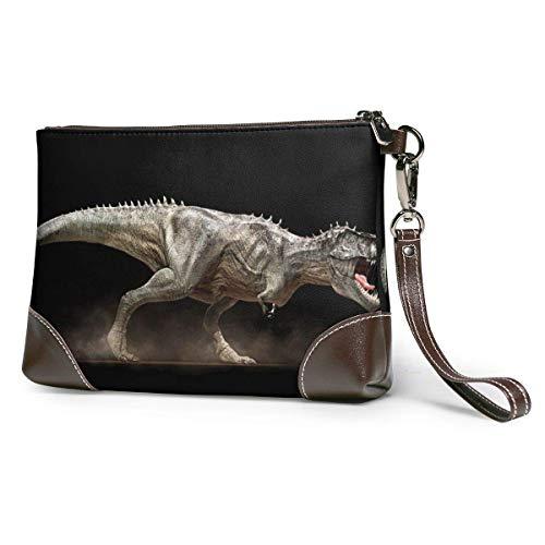 baowen Cartera de cuero para mujer Cartera de embrague Monedero de almacenamiento de dinosaurios con bolsa de cremallera con correa