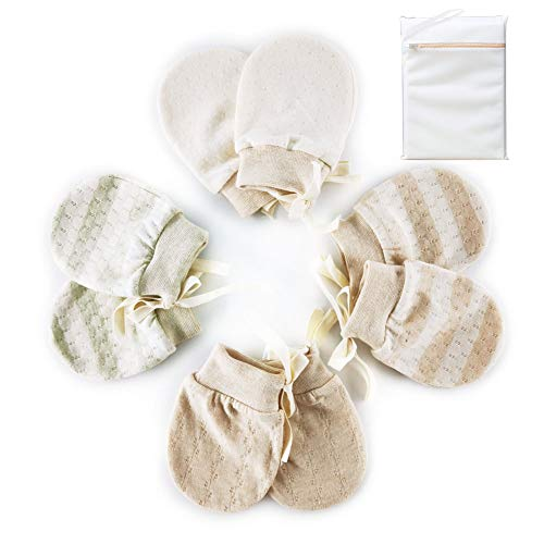 Organic Baby Mittens Newborn Glove No Scratch for Infants Unisex 4 Pairs Soft