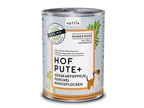 naftie Bio Hundefutter Hof Pute+ | Premium Nassfutter Menü mit Pute, Süßkartoffeln, Fenchel und Kokosflocken | Getreidefrei | Glutenfrei | purinarm | Diät-Futter | 400 g Dose