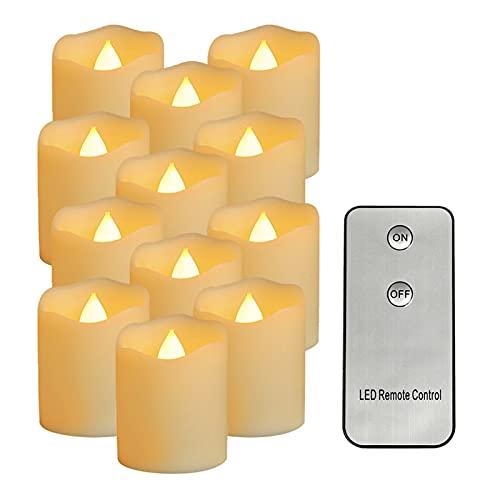HSHHJSH 12 Unids/Set Velas LED Luces De Té Luces LED De Té con Pilas Vela Sin Llama Parpadeo Simulación Vela Luz De Llama para El Día De San Valentín, Halloween (Emitting Color : B Height 4.6cm)
