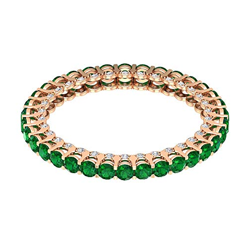 Rosec Jewels 10 quilates oro rosa redonda round-brilliant-shape H-I Green Diamond Esmeralda creada en laboratorio.
